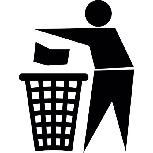 نماد بسته بندی سطل زباله