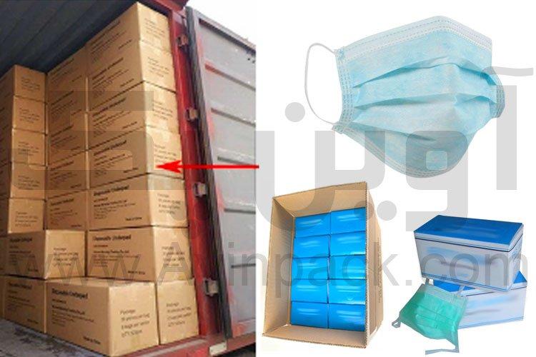 جعبه و کارتن بسته بندی ماسک یکبار مصرف پزشکی